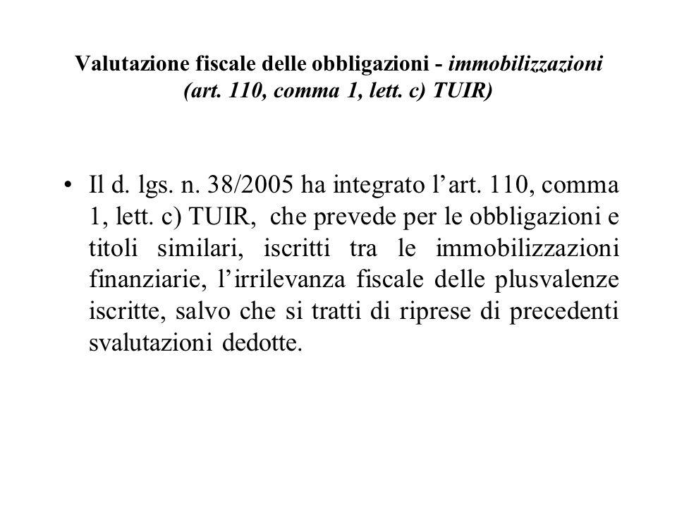 Valutazione fiscale delle obbligazioni - immobilizzazioni (art