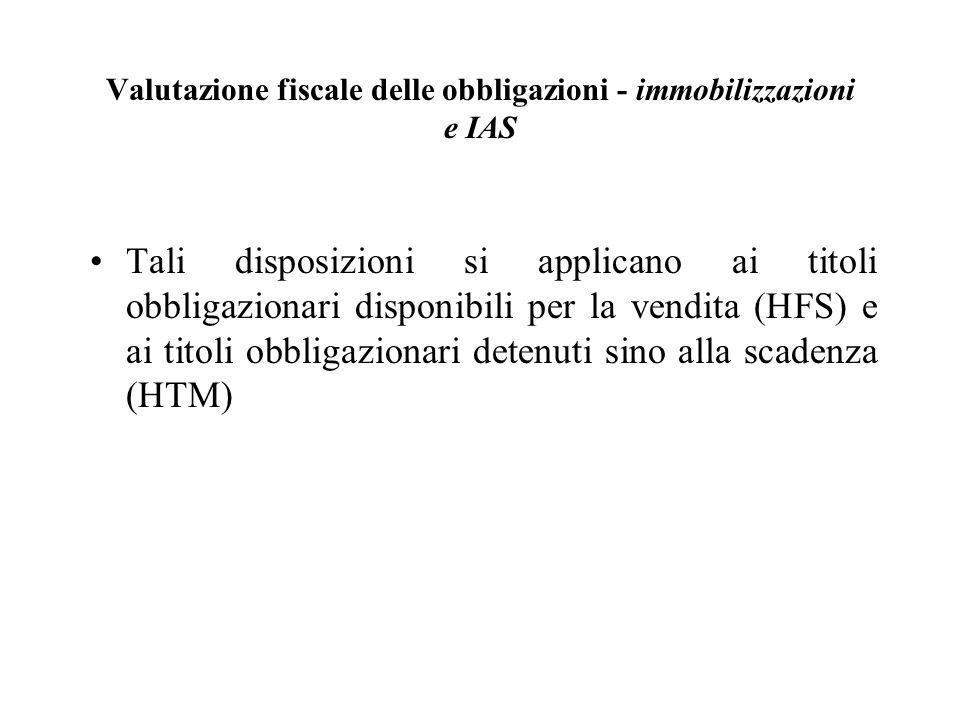 Valutazione fiscale delle obbligazioni - immobilizzazioni e IAS