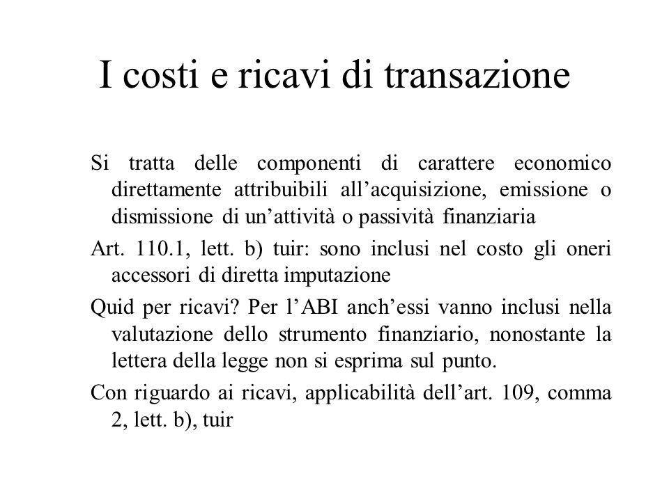 I costi e ricavi di transazione
