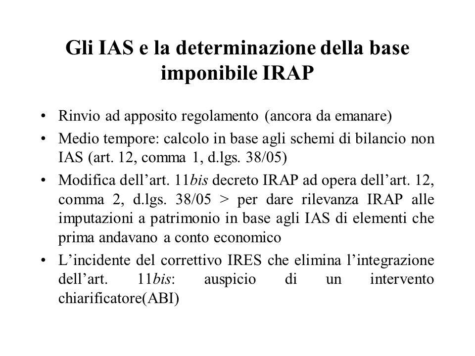 Gli IAS e la determinazione della base imponibile IRAP