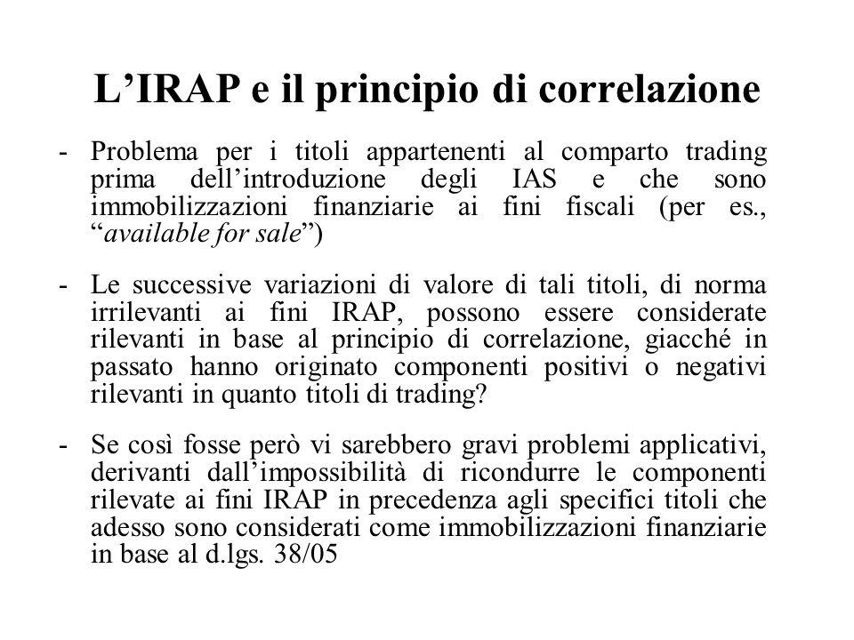 L'IRAP e il principio di correlazione