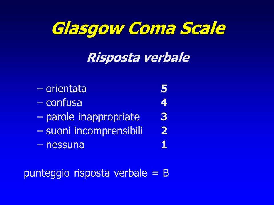 Glasgow Coma Scale Risposta verbale orientata 5 confusa 4