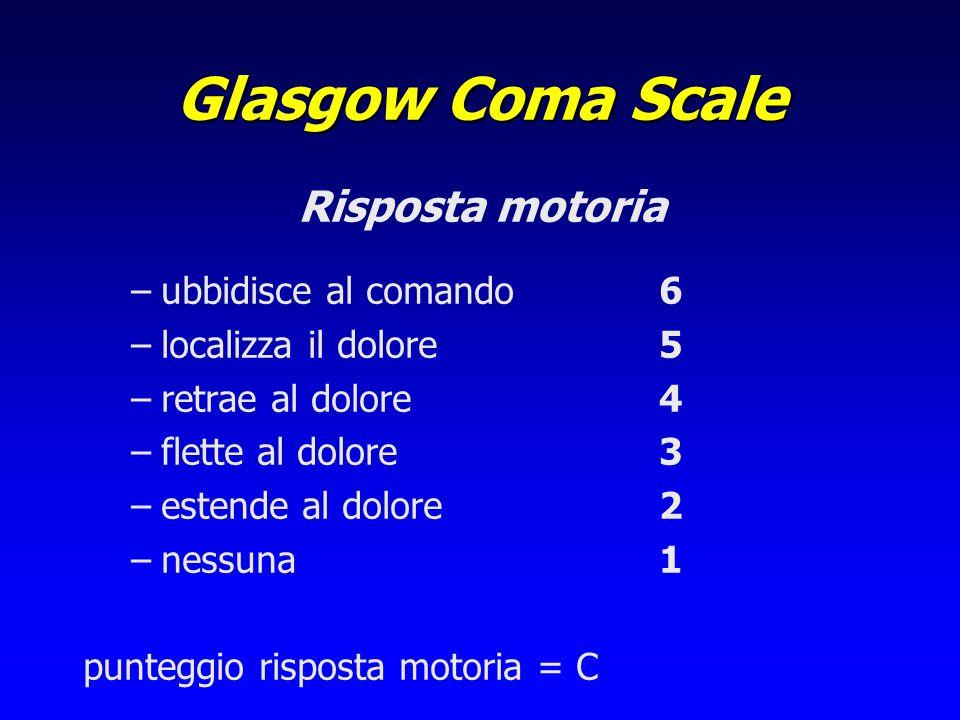 Glasgow Coma Scale Risposta motoria ubbidisce al comando 6