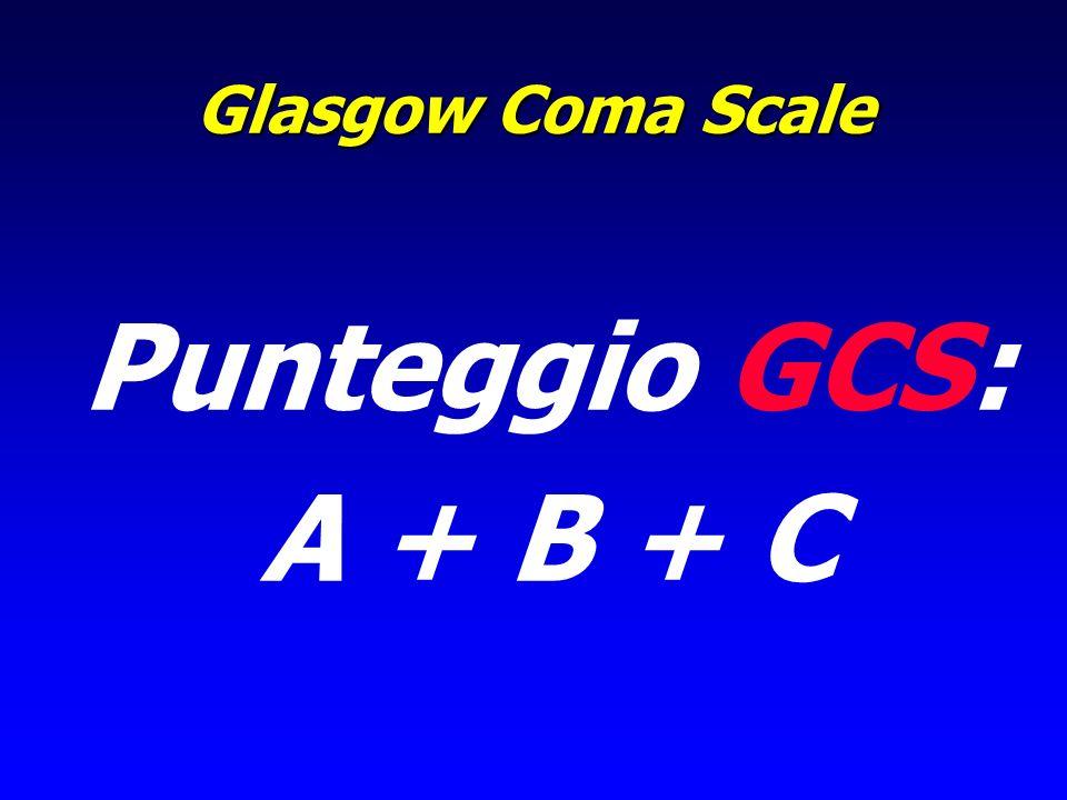 Glasgow Coma Scale Punteggio GCS: A + B + C