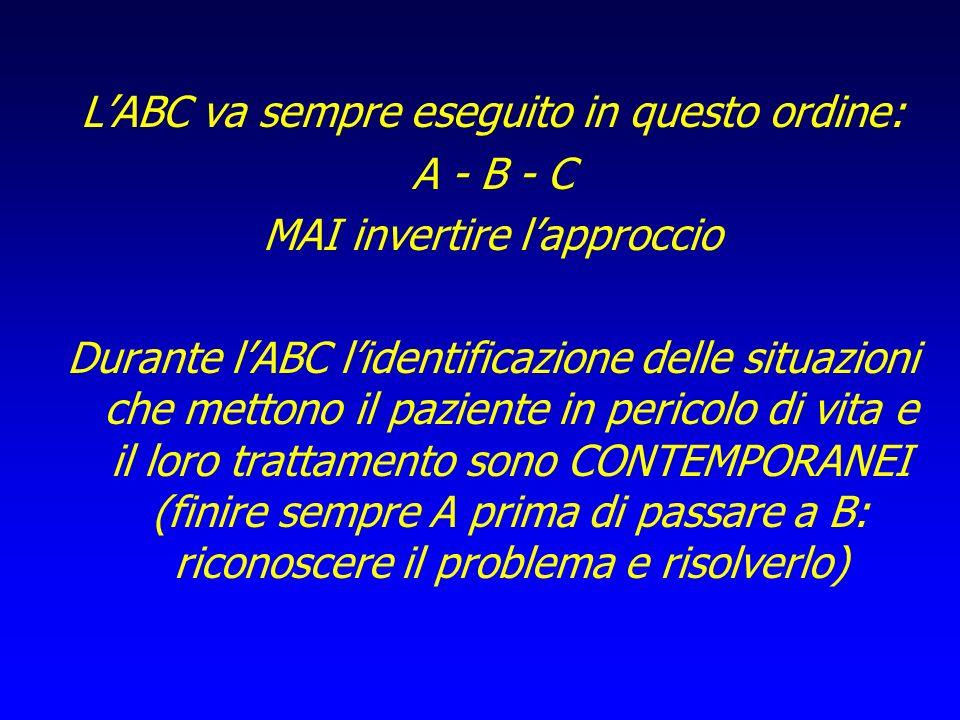 L'ABC va sempre eseguito in questo ordine: A - B - C