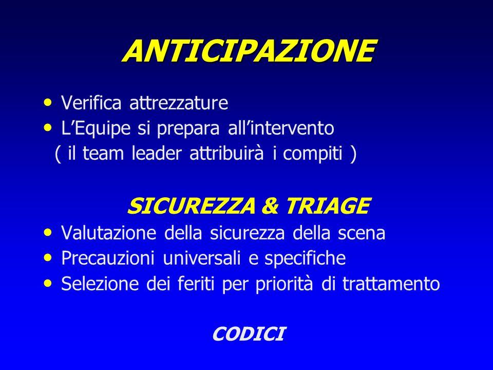 ANTICIPAZIONE SICUREZZA & TRIAGE Verifica attrezzature