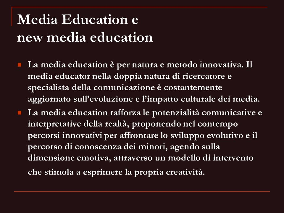 Media Education e new media education