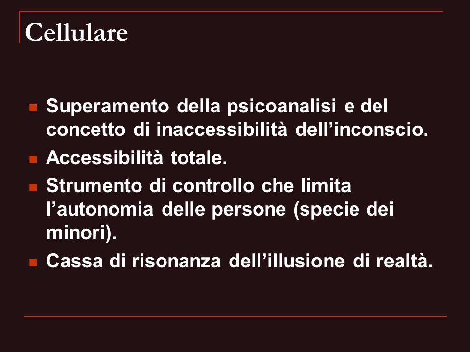 Cellulare Superamento della psicoanalisi e del concetto di inaccessibilità dell'inconscio. Accessibilità totale.