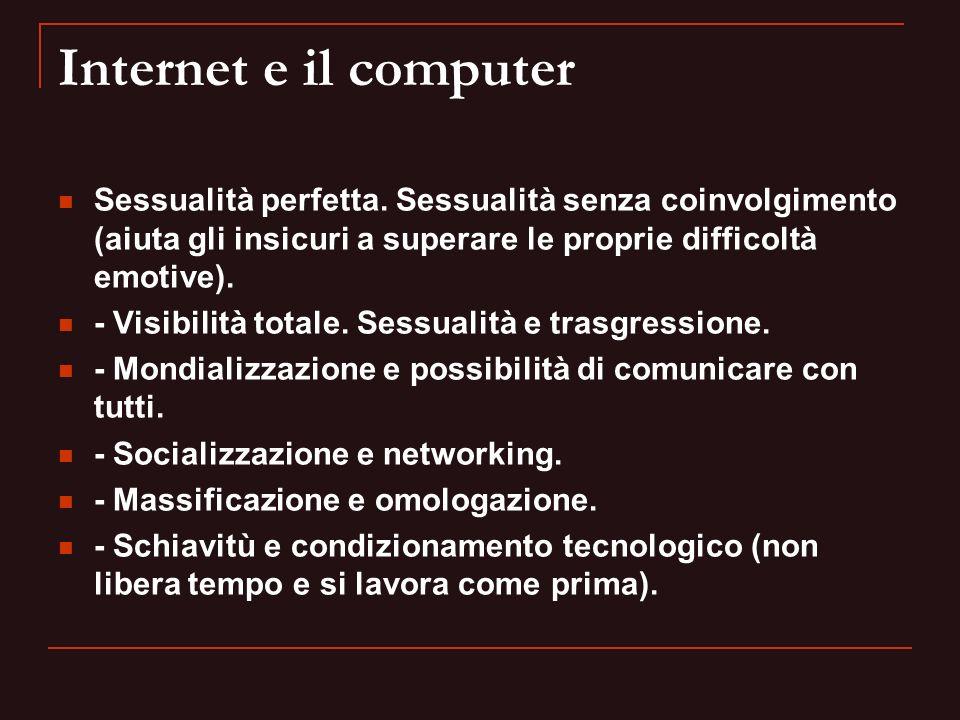 Internet e il computer Sessualità perfetta. Sessualità senza coinvolgimento (aiuta gli insicuri a superare le proprie difficoltà emotive).