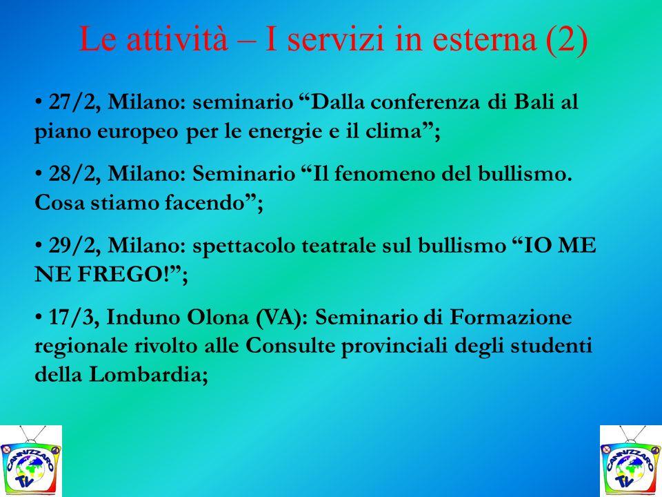 Le attività – I servizi in esterna (2)