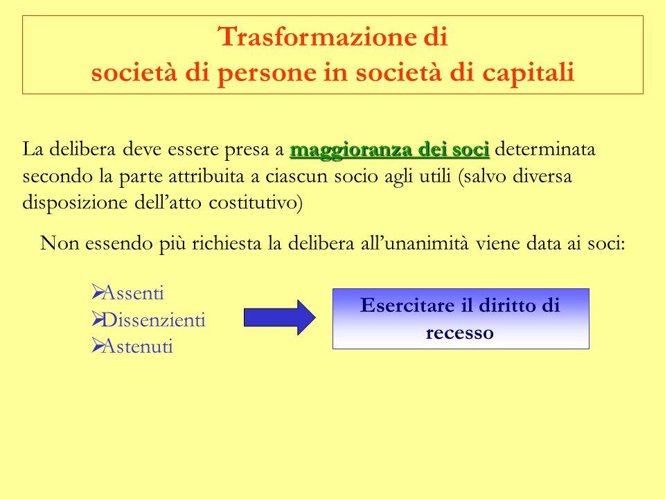 Trasformazione di società di persone in società di capitali