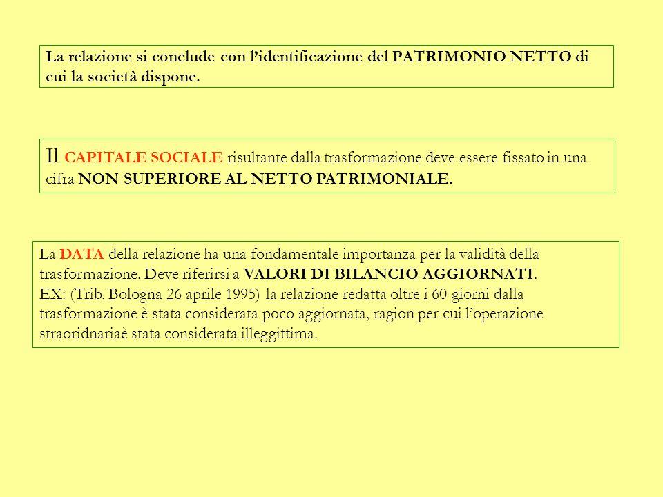 La relazione si conclude con l'identificazione del PATRIMONIO NETTO di cui la società dispone.