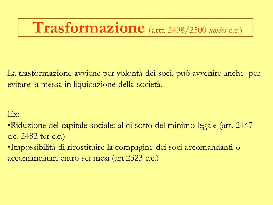 Trasformazione (artt. 2498/2500 novies c.c.)