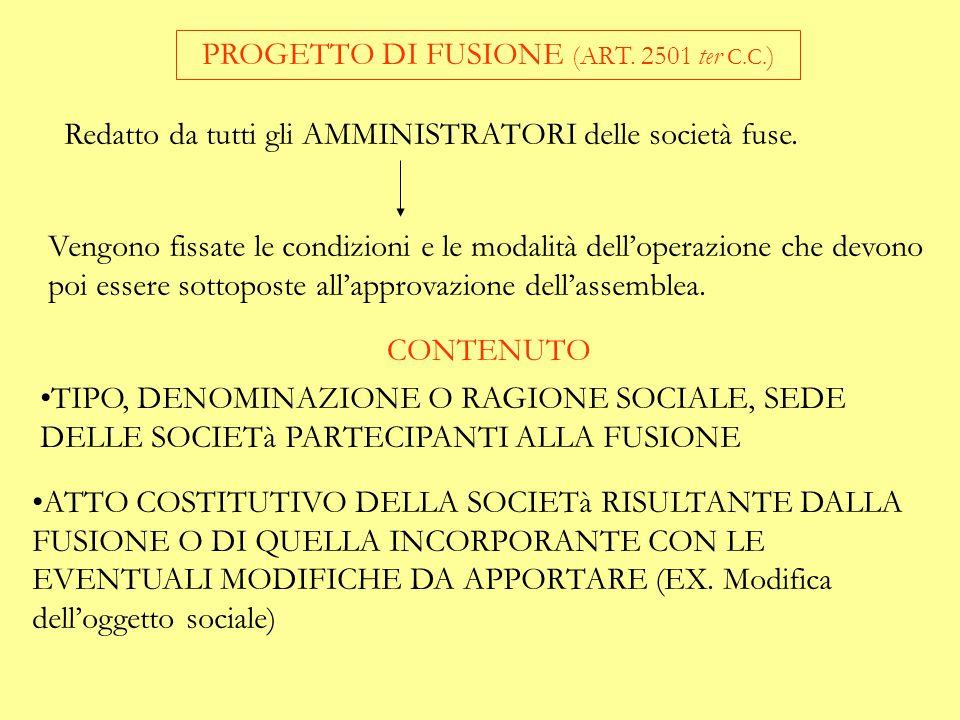 PROGETTO DI FUSIONE (ART. 2501 ter C.C.)