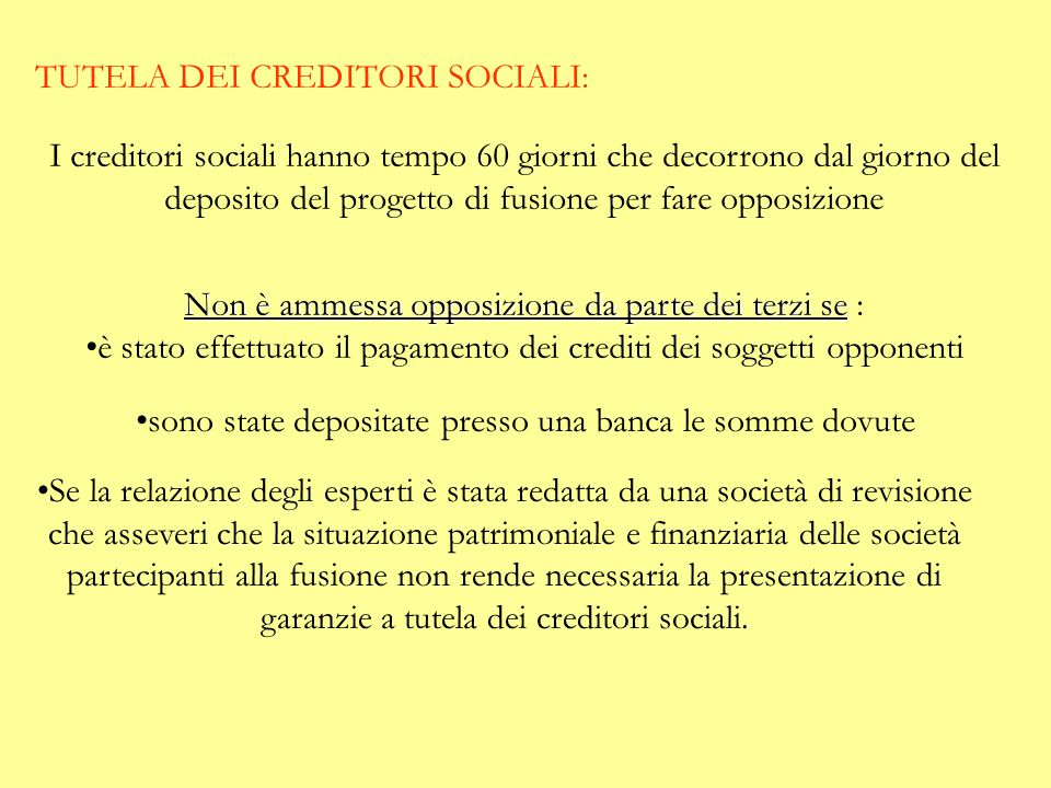 TUTELA DEI CREDITORI SOCIALI:
