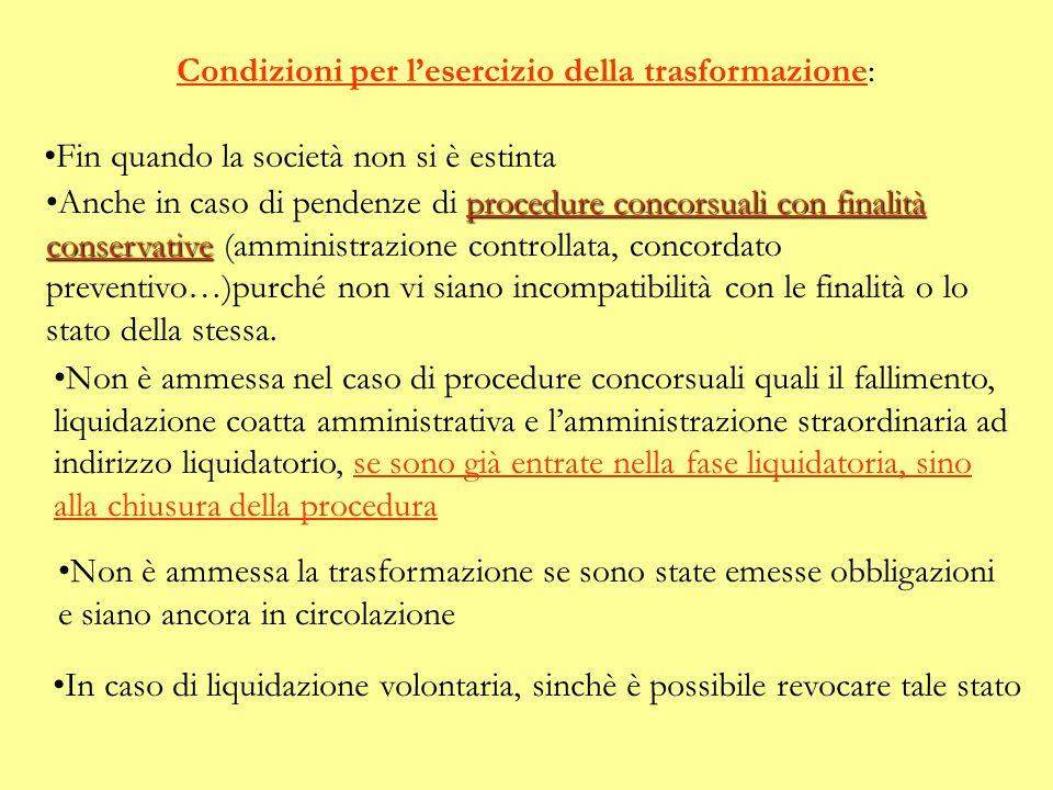 Condizioni per l'esercizio della trasformazione: