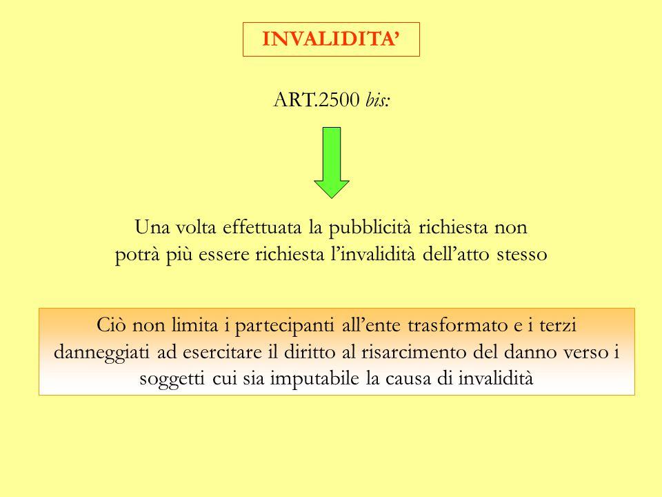 INVALIDITA' ART.2500 bis: Una volta effettuata la pubblicità richiesta non potrà più essere richiesta l'invalidità dell'atto stesso.