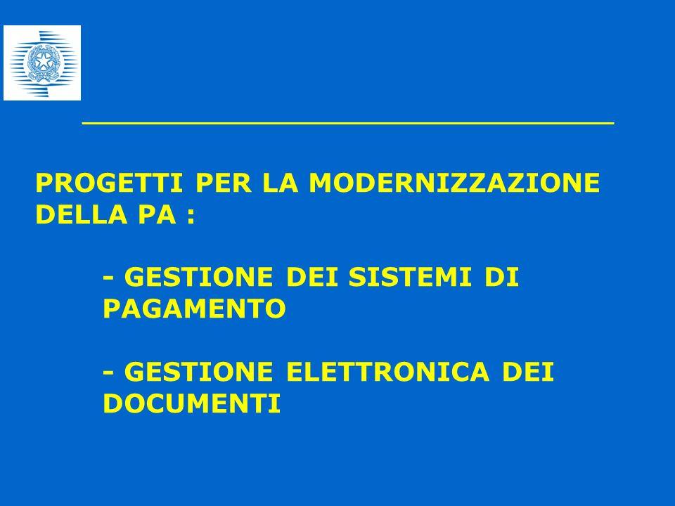 PROGETTI PER LA MODERNIZZAZIONE DELLA PA :. - GESTIONE DEI SISTEMI DI