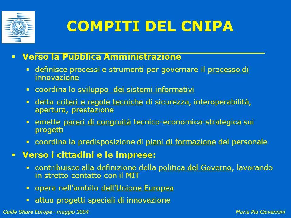 COMPITI DEL CNIPA Verso la Pubblica Amministrazione