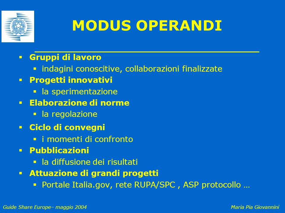 MODUS OPERANDI Gruppi di lavoro