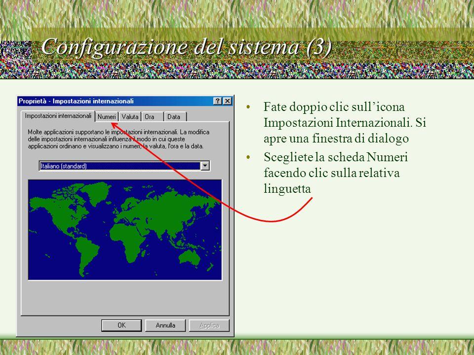 Configurazione del sistema (3)