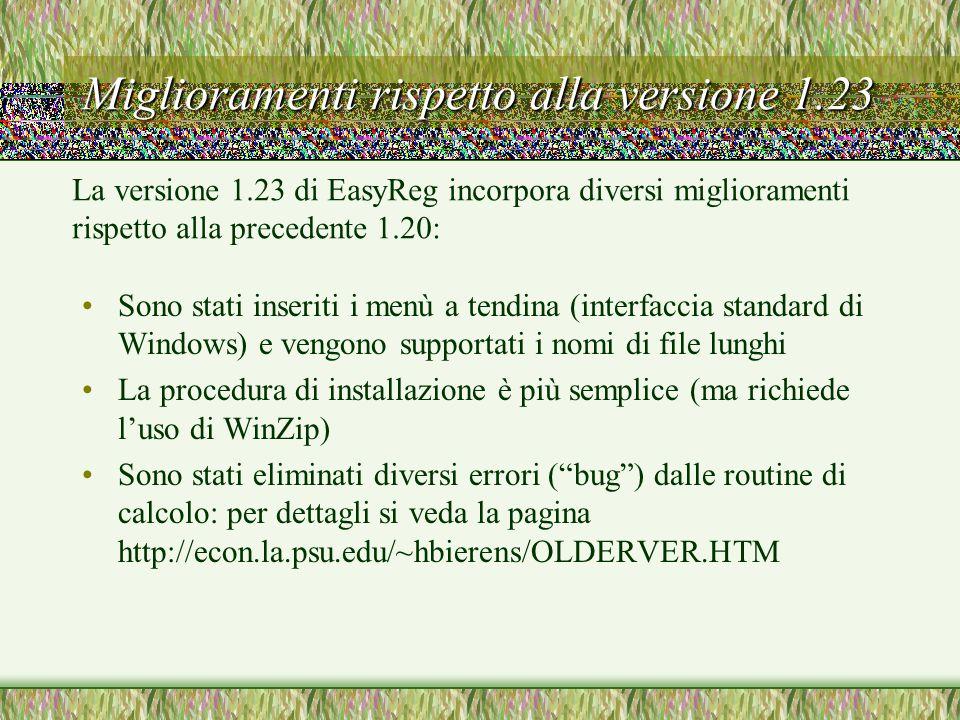 Miglioramenti rispetto alla versione 1.23