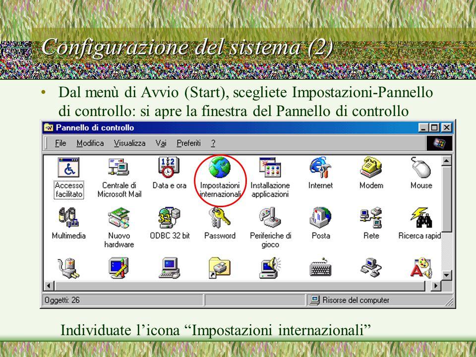 Configurazione del sistema (2)