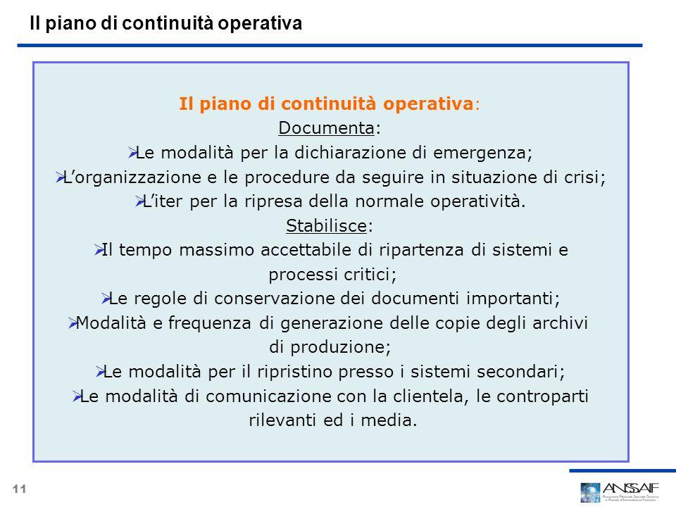 Il piano di continuità operativa