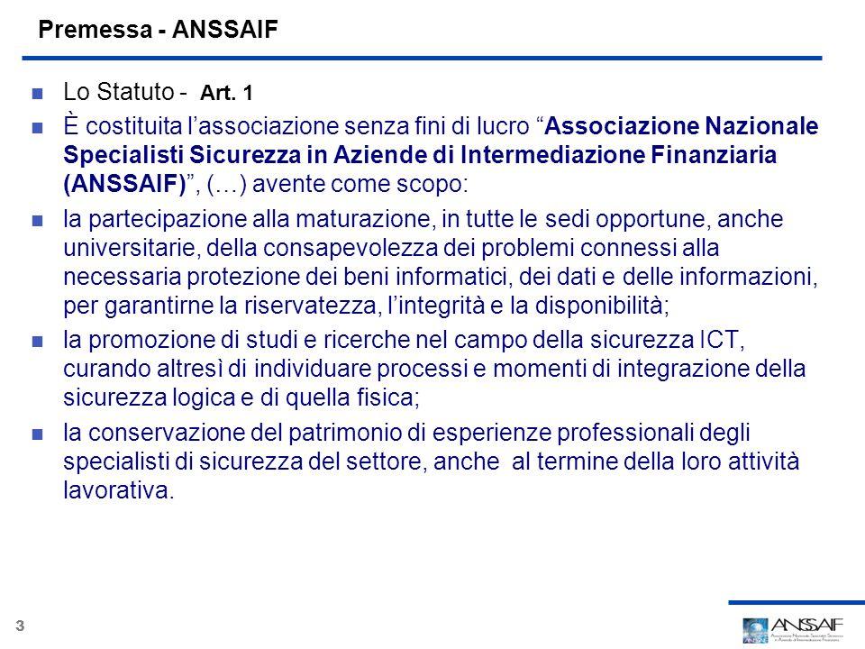 Premessa - ANSSAIF Lo Statuto - Art. 1.