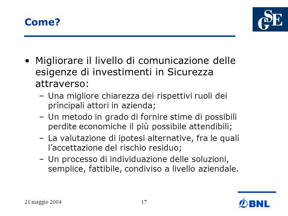 Come Migliorare il livello di comunicazione delle esigenze di investimenti in Sicurezza attraverso:
