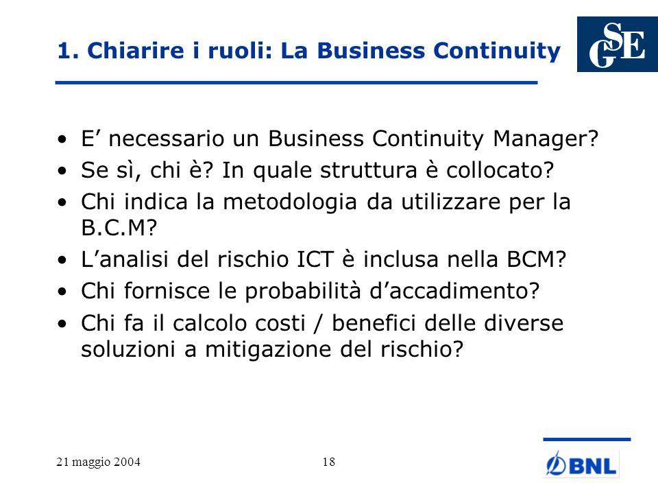 1. Chiarire i ruoli: La Business Continuity