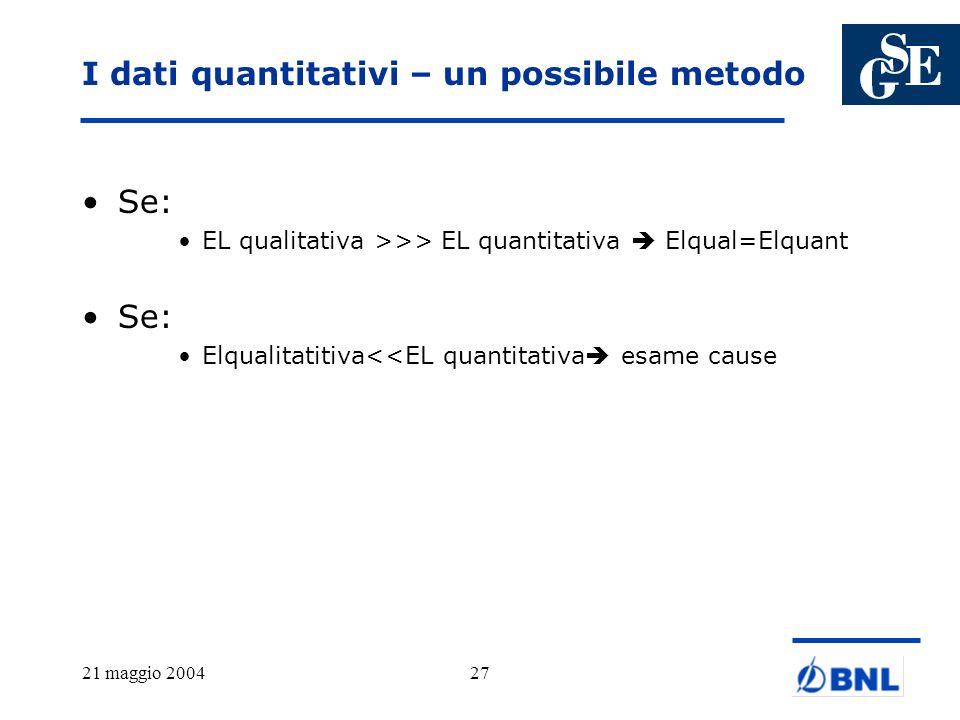 I dati quantitativi – un possibile metodo