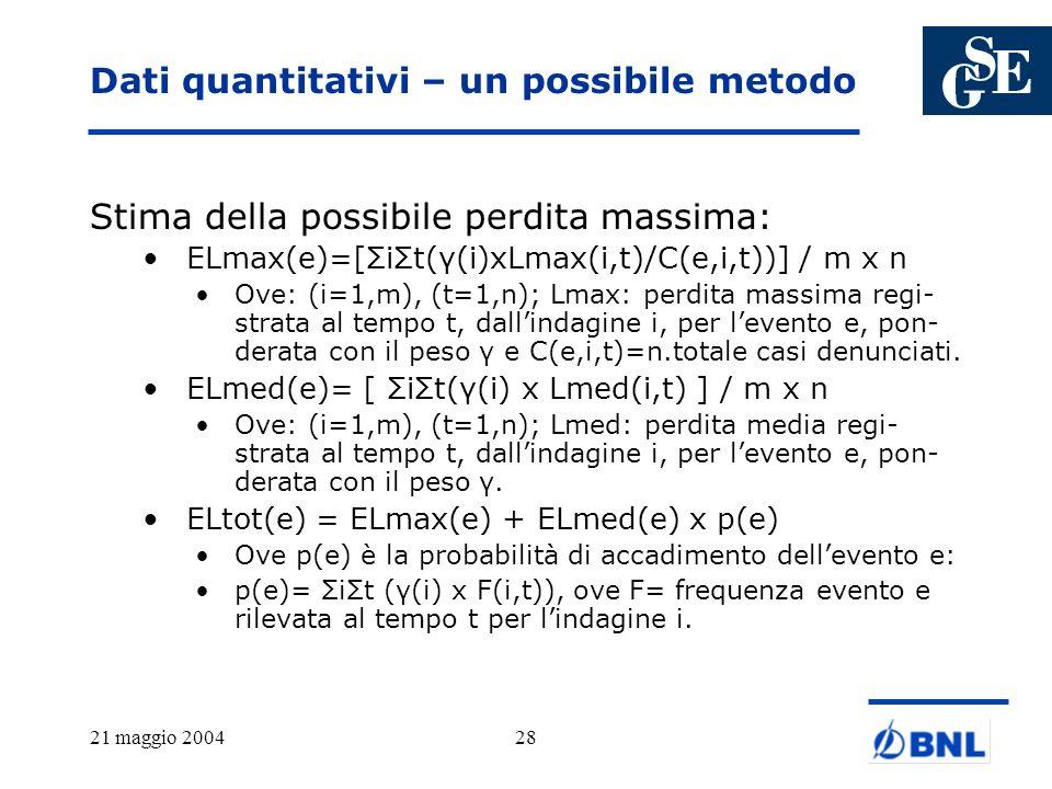 Dati quantitativi – un possibile metodo