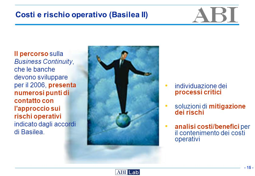 Costi e rischio operativo (Basilea II)
