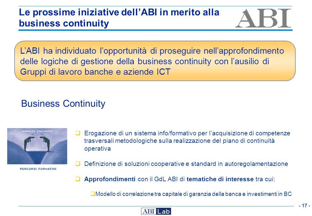 Le prossime iniziative dell'ABI in merito alla business continuity