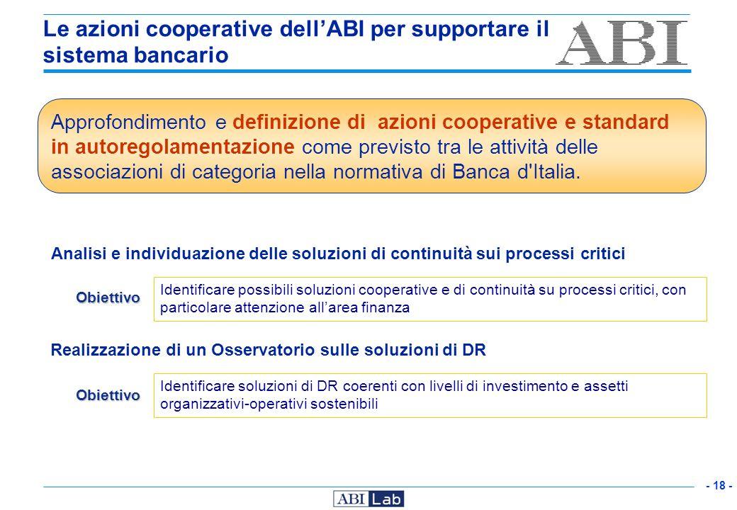 Le azioni cooperative dell'ABI per supportare il sistema bancario