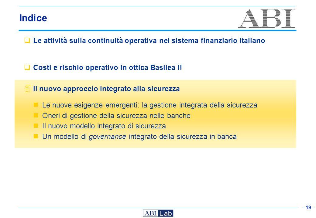 Indice Le attività sulla continuità operativa nel sistema finanziario italiano. Costi e rischio operativo in ottica Basilea II.
