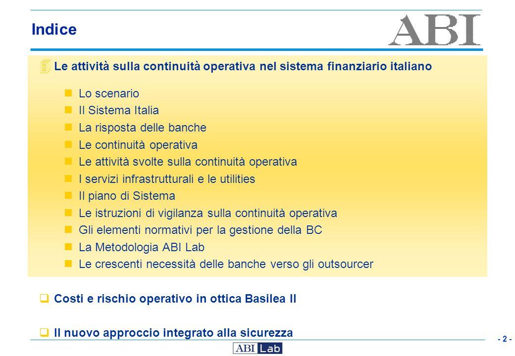 IndiceLe attività sulla continuità operativa nel sistema finanziario italiano. Lo scenario. Il Sistema Italia.