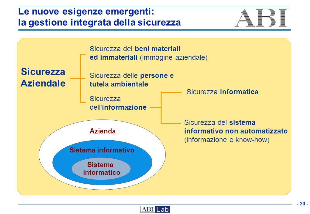 Le nuove esigenze emergenti: la gestione integrata della sicurezza