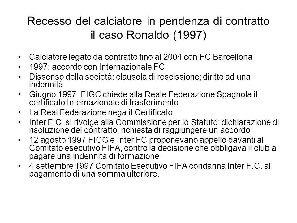 Recesso del calciatore in pendenza di contratto il caso Ronaldo (1997)