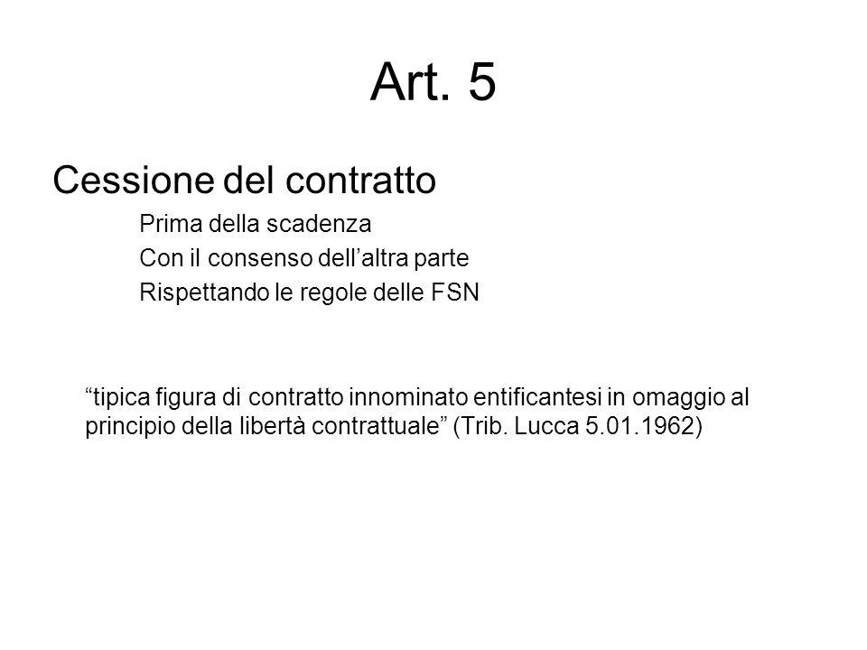Art. 5 Cessione del contratto Prima della scadenza