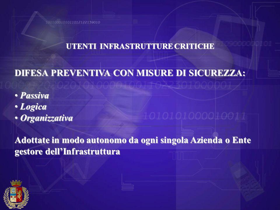 DIFESA PREVENTIVA CON MISURE DI SICUREZZA: Passiva Logica