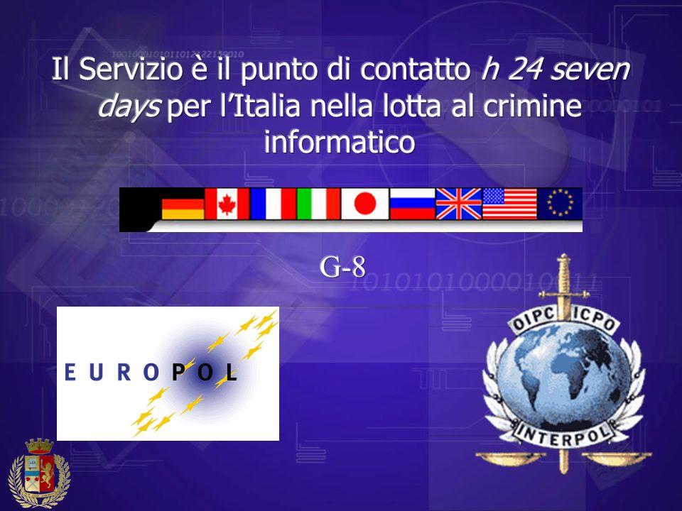 Il Servizio è il punto di contatto h 24 seven days per l'Italia nella lotta al crimine informatico