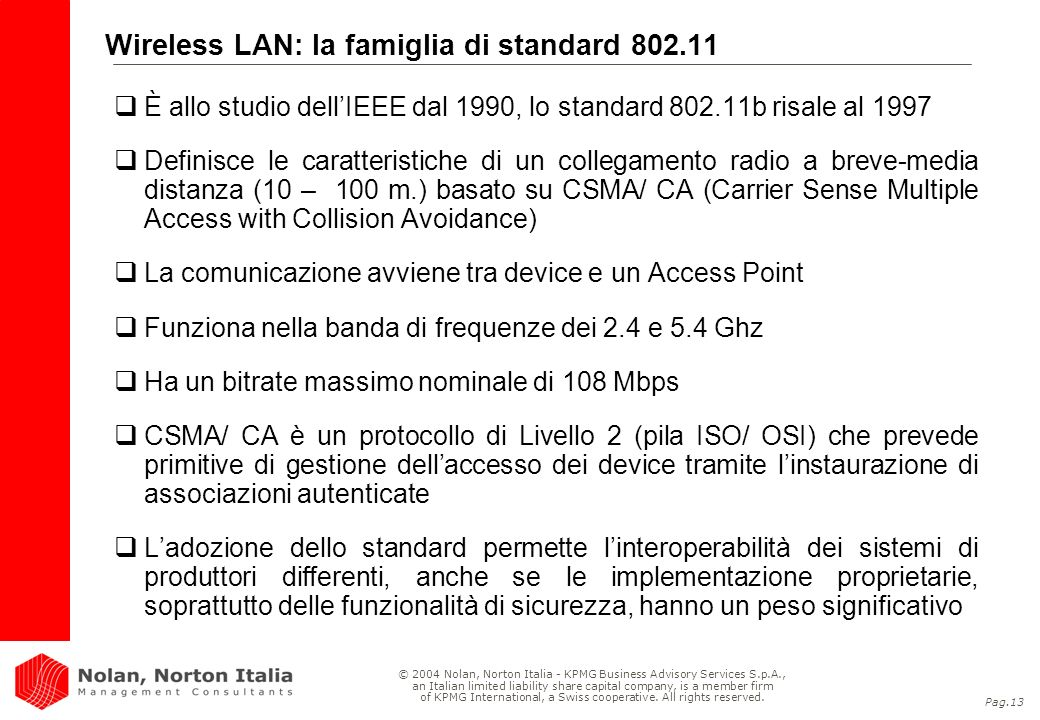 Wireless LAN: la famiglia di standard 802.11