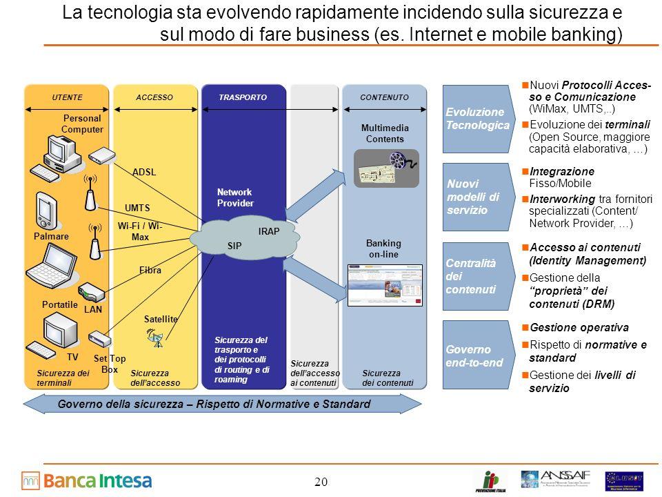 La tecnologia sta evolvendo rapidamente incidendo sulla sicurezza e sul modo di fare business (es. Internet e mobile banking)