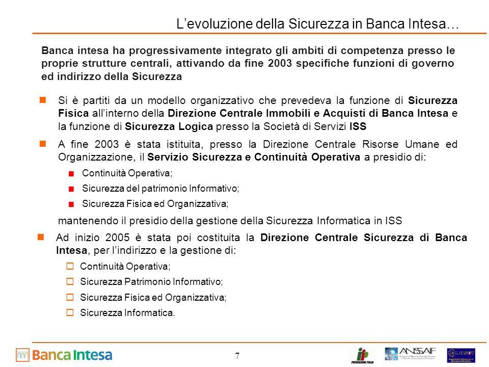 L'evoluzione della Sicurezza in Banca Intesa…