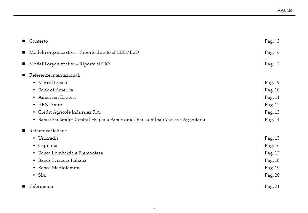 Agenda Contesto Pag. 3. Modelli organizzativi – Riporto diretto al CEO/BoD Pag. 6.