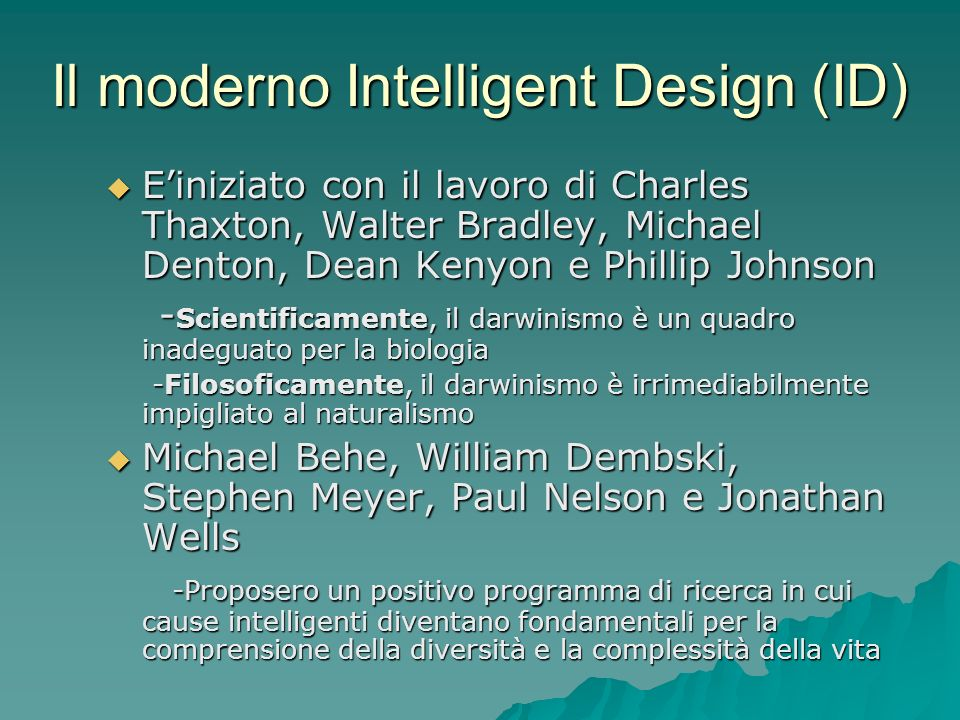 Il moderno Intelligent Design (ID)