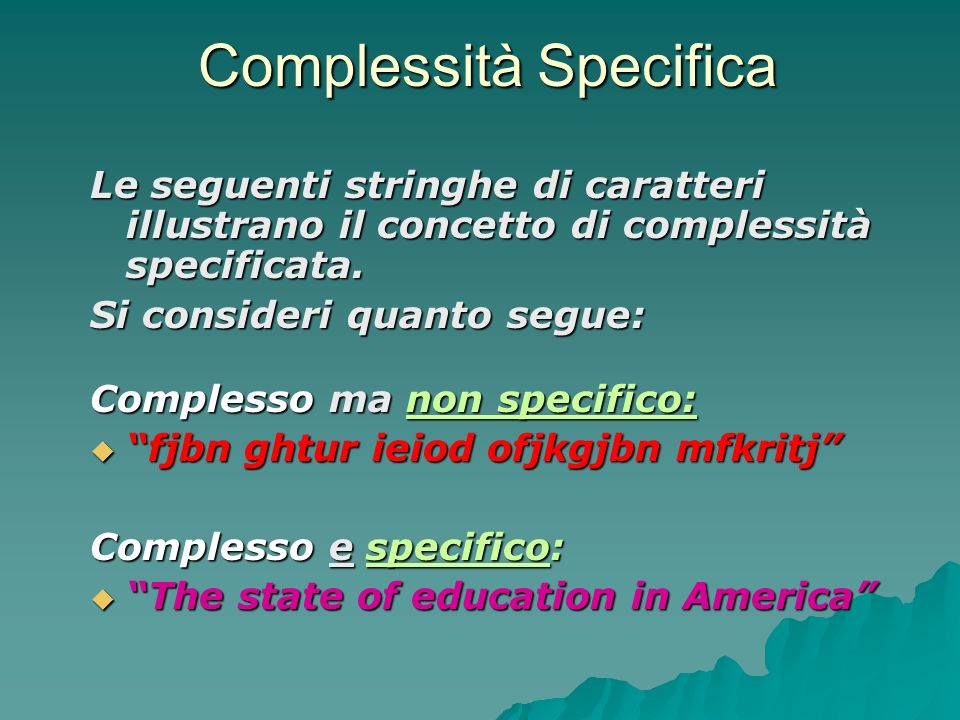 Complessità Specifica