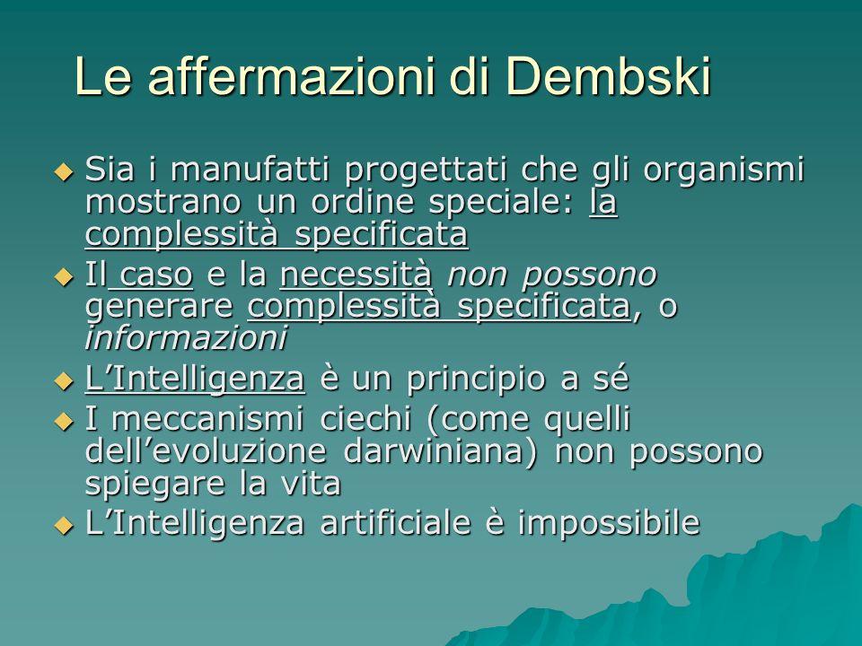 Le affermazioni di Dembski